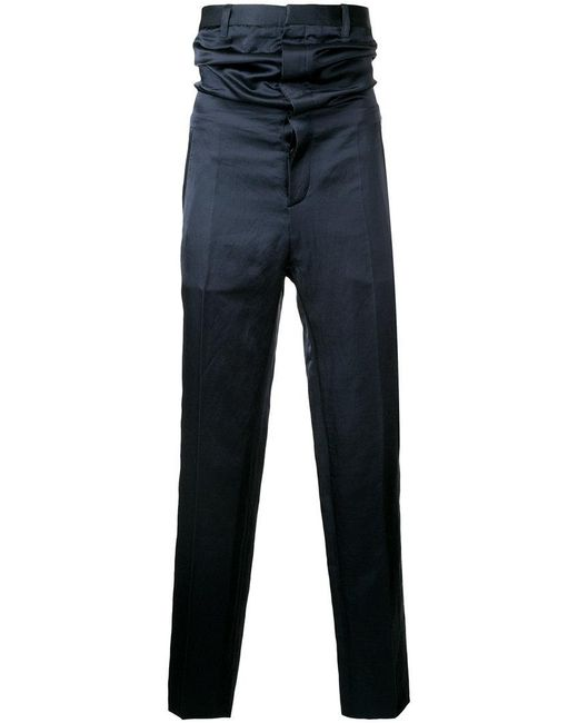 Y. Project - Blue High-waisted Satin Trousers for Men - Lyst