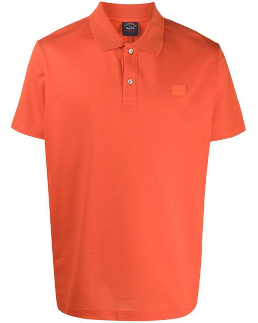 メンズ Paul & Shark ロゴ ポロシャツ Orange