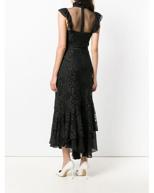 Three Floor Black Fitted Silhouette Dress