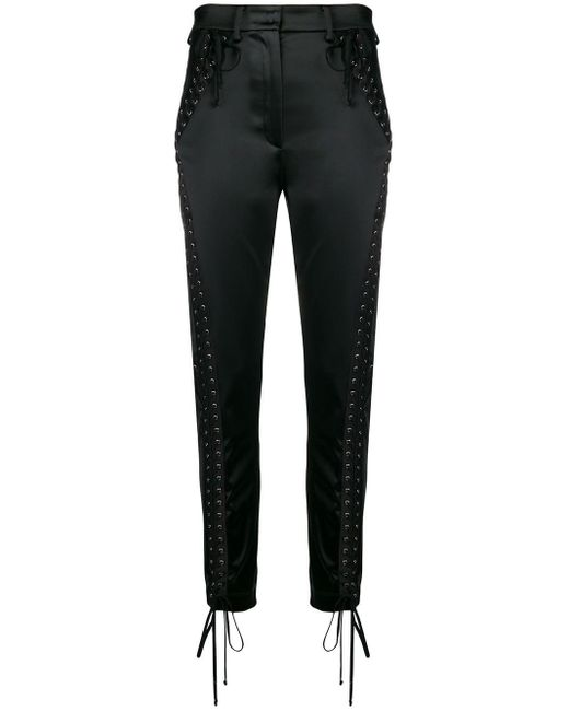 Dolce & Gabbana レースアップ ストレッチ パンツ Black