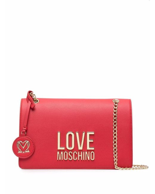Love Moschino ロゴプレート ショルダーバッグ Red