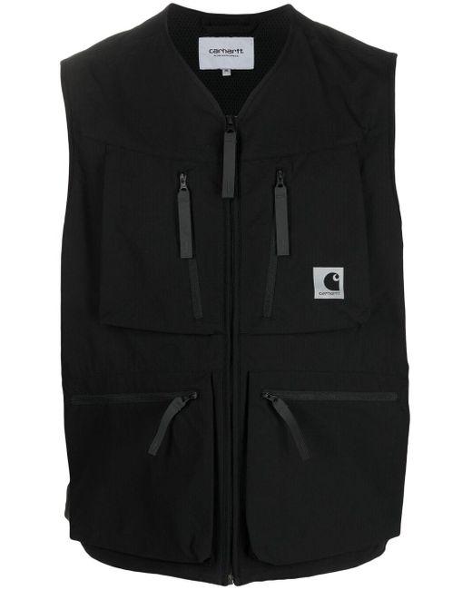 メンズ Carhartt WIP ロゴ ジップ ベスト Black