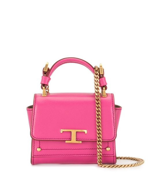 Tod's Tプレート ハンドバッグ Pink