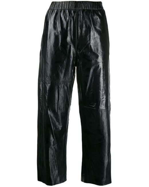 MM6 by Maison Martin Margiela Black Cropped-Hose mit geradem Bein