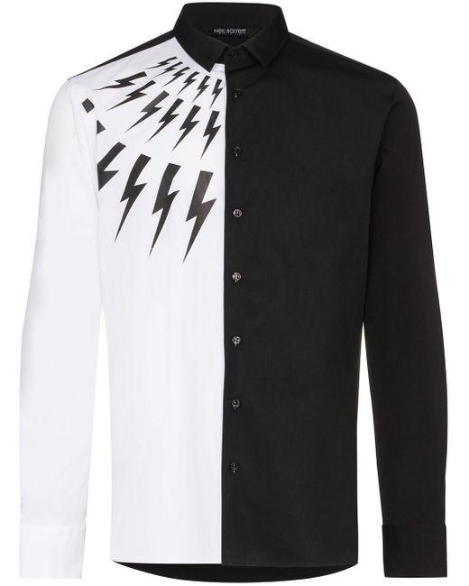 メンズ Neil Barrett Thunderbolt バイカラーシャツ Black