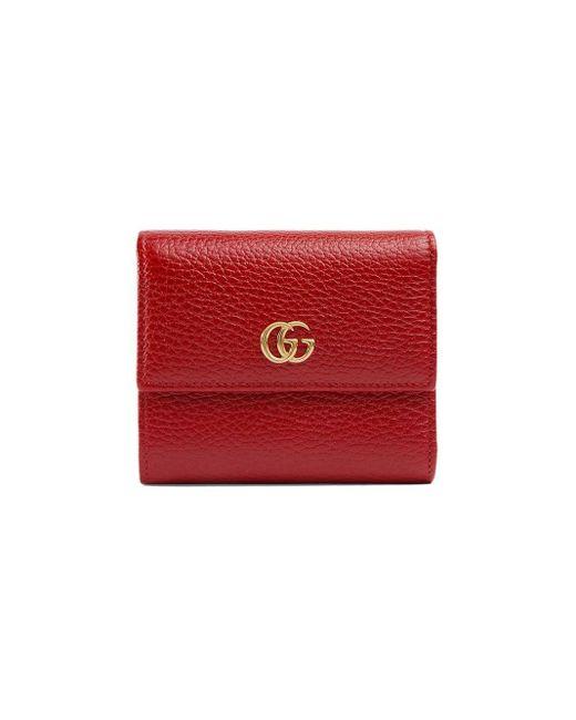 Gucci グッチ〔GGマーモント〕レザー 三つ折り ウォレット Red