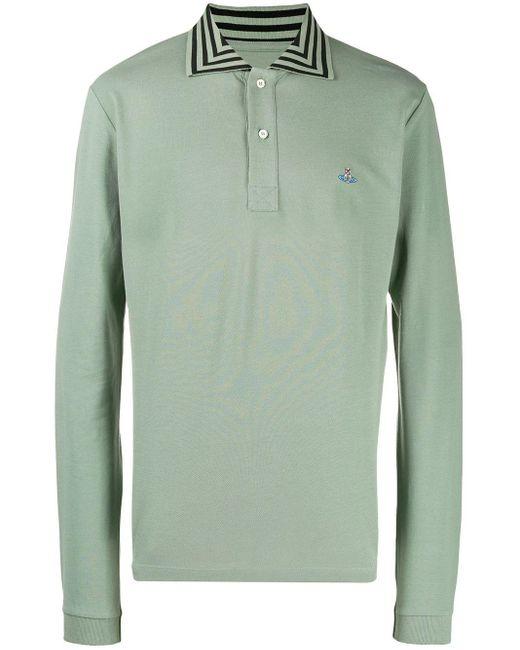 メンズ Vivienne Westwood ストライプカラー ポロシャツ Green