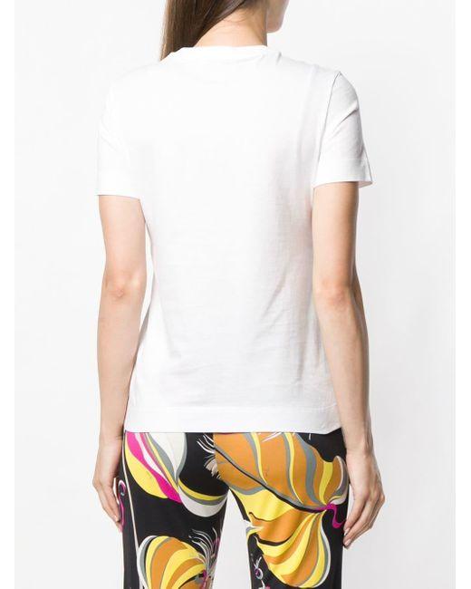 Emilio Pucci ラインストーンロゴ Tシャツ White