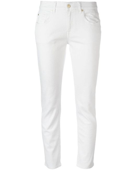 7 For All Mankind - White Straight-leg Jeans - Lyst