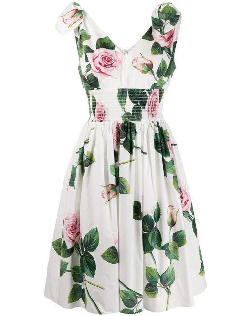 Dolce & Gabbana フローラル フレアドレス White