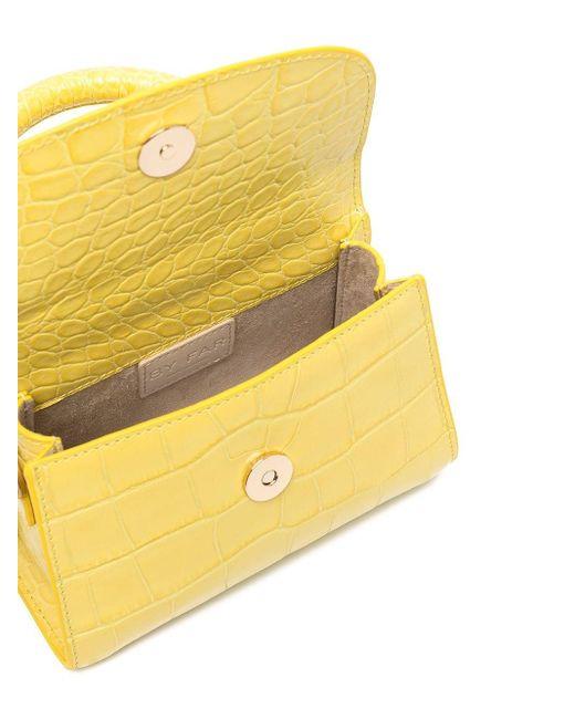 Mini sac cabas à effet peau de crocodile By Far en coloris Yellow