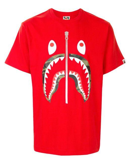 A Bathing Ape Red Camo Shark Short Sleeved T-shirt for men