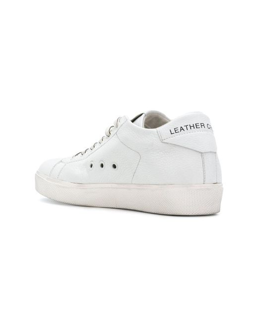 Leather Crown Lace up perforated sneakers 8kWDR