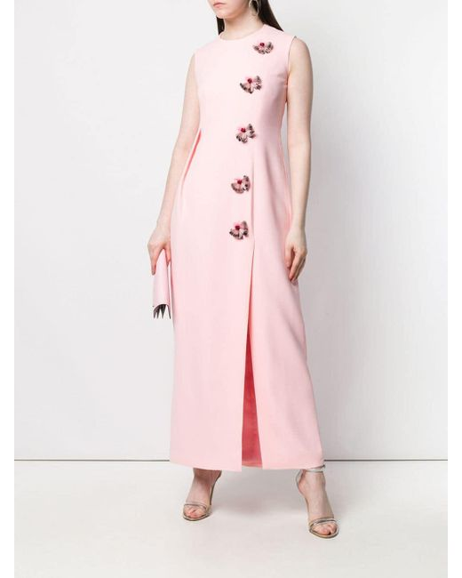 Delpozo Pink Embellished Long Dress