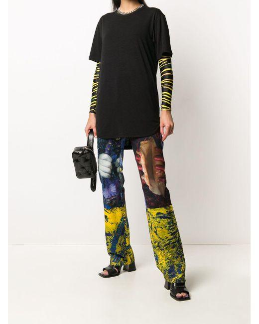 Yuiki Shimoji T-shirt à ourlet asymétrique femme de coloris noir zH8AX