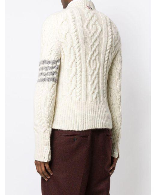 Кашемировый Пуловер Фактурной Вязки С Полосками Thom Browne для него, цвет: White