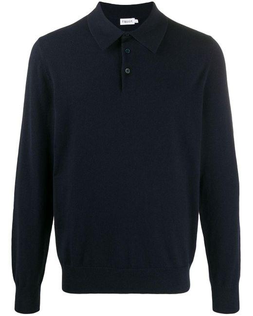 メンズ Filippa K ロングスリーブ ニットポロシャツ Blue