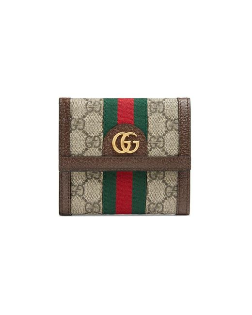 Gucci Brown Ophidia GG French Flap Wallet