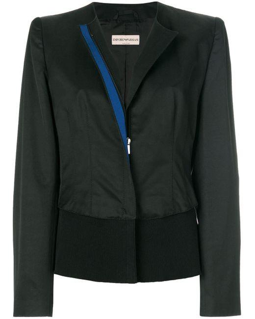 Giorgio Armani ノーカラー ジャケット Black