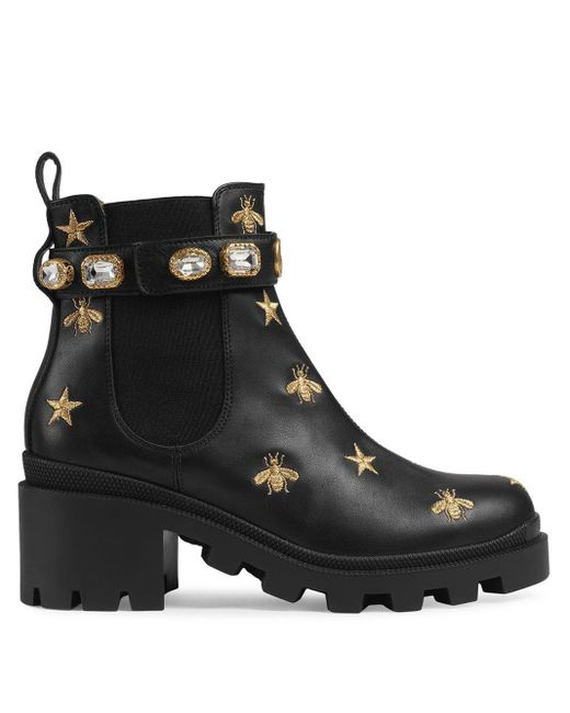 Gucci Black Embroidered Leather Ankle Boot With Belt
