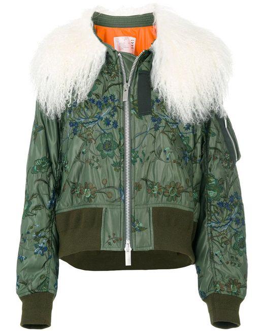 Sacai - Green Shearling Cropped Bomber Jacket - Lyst