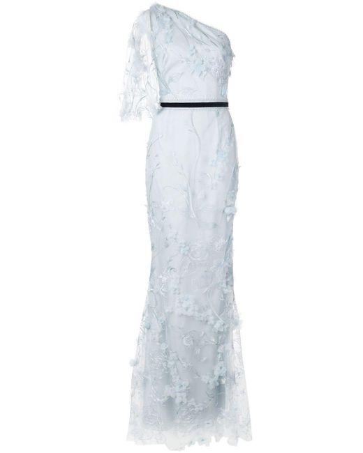 Длинное Платье С Вышивкой Marchesa notte, цвет: Blue