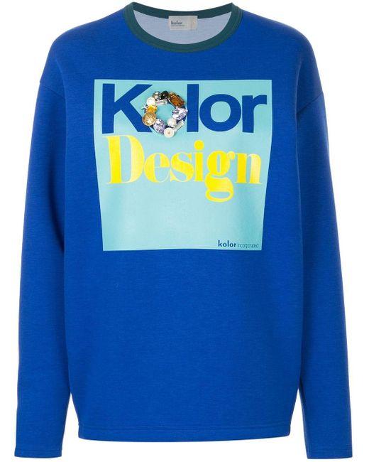Kolor Blue Embellished Print Sweatshirt