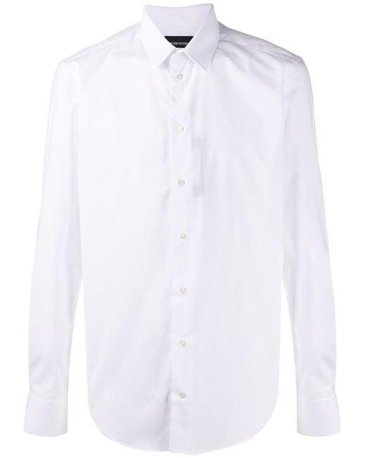 メンズ Emporio Armani ロングスリーブ シャツ White