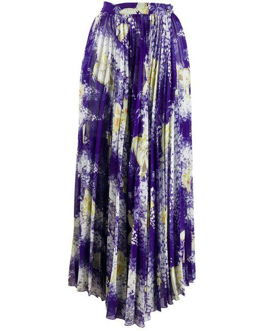 Etro フローラル プリーツスカート Purple