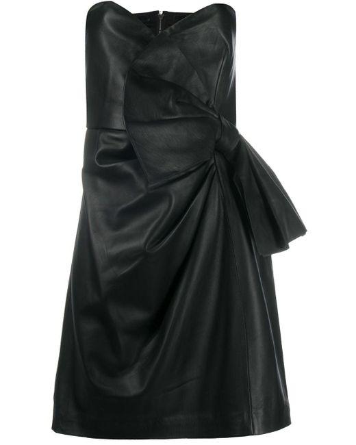 RED Valentino レザー ベアトップドレス Black