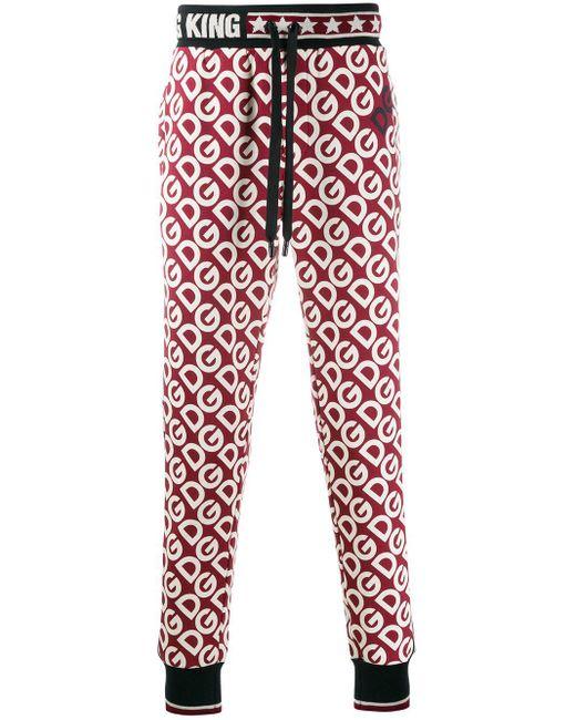 メンズ Dolce & Gabbana モノグラム トラックパンツ Red
