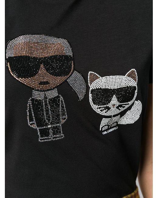 Футболка Ikonik Со Стразами Karl Lagerfeld, цвет: Black
