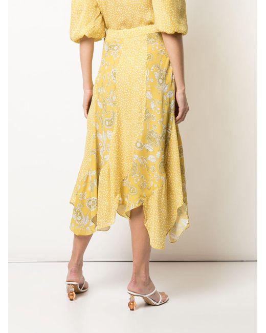 Юбка Миди Асимметричного Кроя В Технике Пэчворк Nicholas, цвет: Yellow