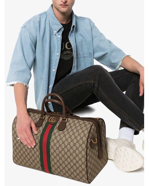 Дорожная Сумка С Узором GG Supreme Gucci для него, цвет: Brown