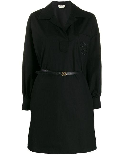 Fendi ベルテッド シャツドレス Black