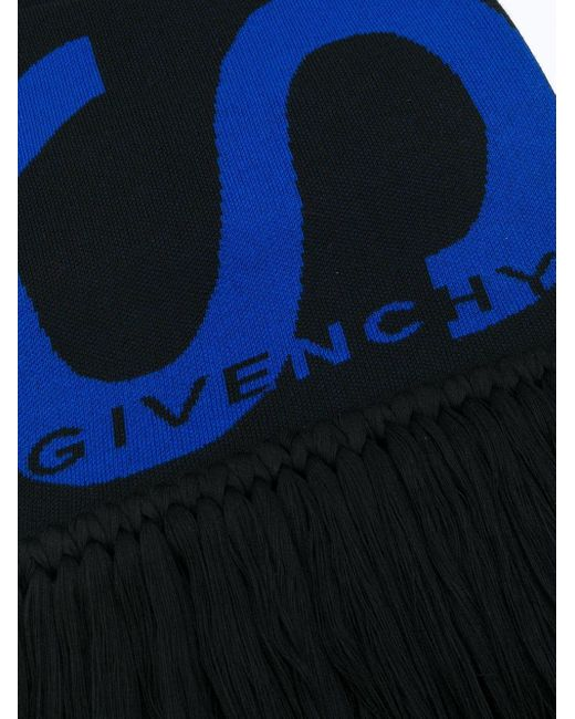メンズ Givenchy ロゴ フレイド スカーフ Black