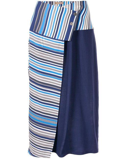 Nehera ストライプ ラップスカート Blue