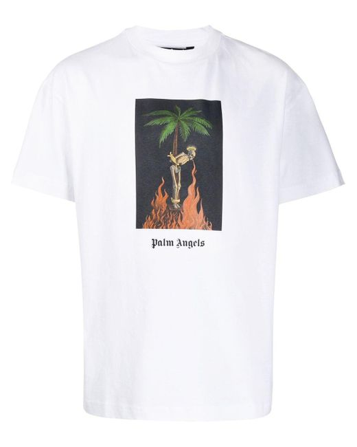メンズ Palm Angels プリント Tシャツ White