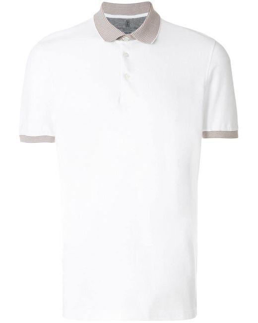 メンズ Brunello Cucinelli コントラストカラーポロシャツ White