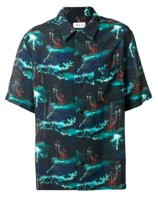 メンズ You As Hawaii Storm シャツ Blue
