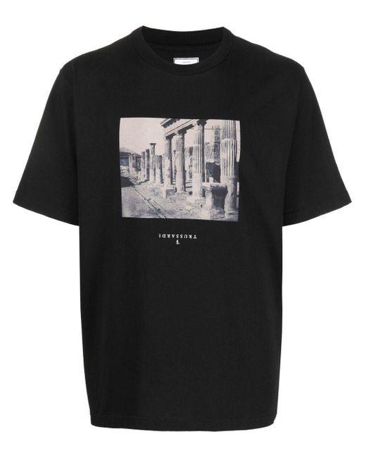 メンズ Trussardi フォトプリント Tシャツ Black