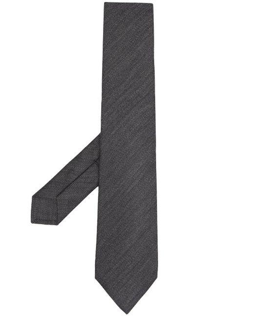 Cravate à chevrons brodés Kiton pour homme en coloris Gray