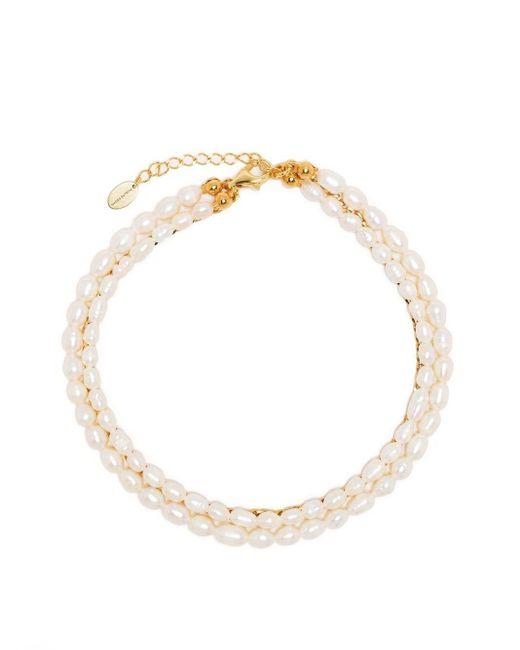 Bracelet deux rangs à perles Magda Butrym en coloris Metallic