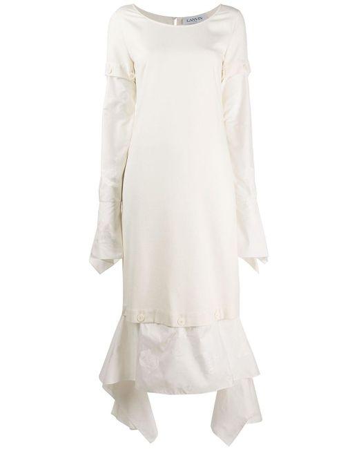 Lanvin ボタン パネルドレス White