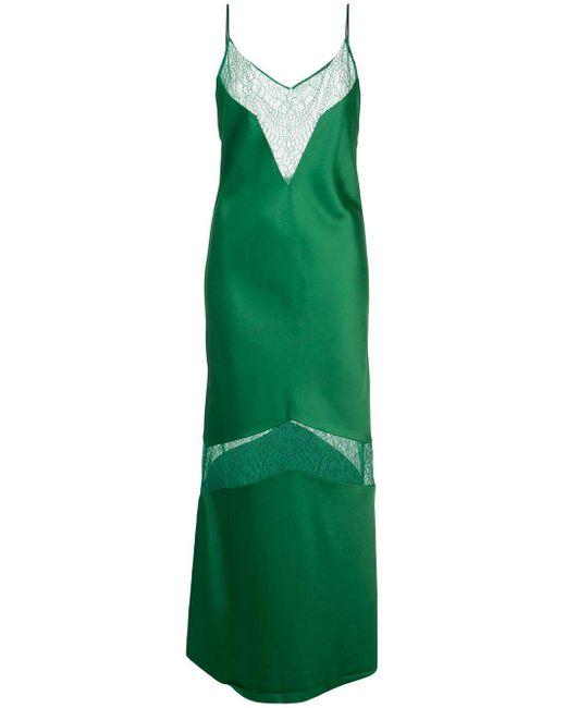 Marina Moscone パネル スリップドレス Green
