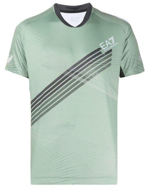 メンズ EA7 プリント Tシャツ Green