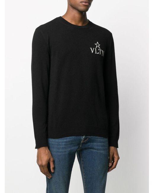 メンズ Valentino Vltn Star クルーネックプルオーバー Black