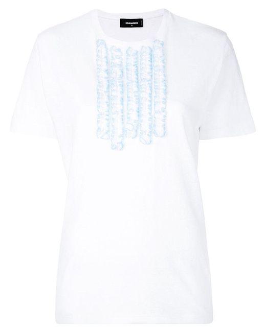 DSquared² - White Ruffle Trim T-shirt - Lyst