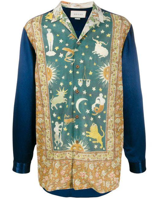 メンズ Gucci Zodiac プリントシャツ Blue