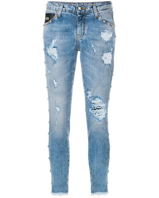 John Richmond - Blue Distressed Skinny Jeans - Lyst